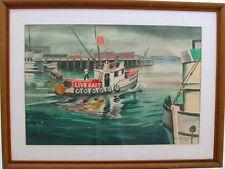 W N MONTGOMERY 1961 NEW ORLEANS LOUISIANA BAIT BOAT IN GULF WATERCOLOR CA ARTIST