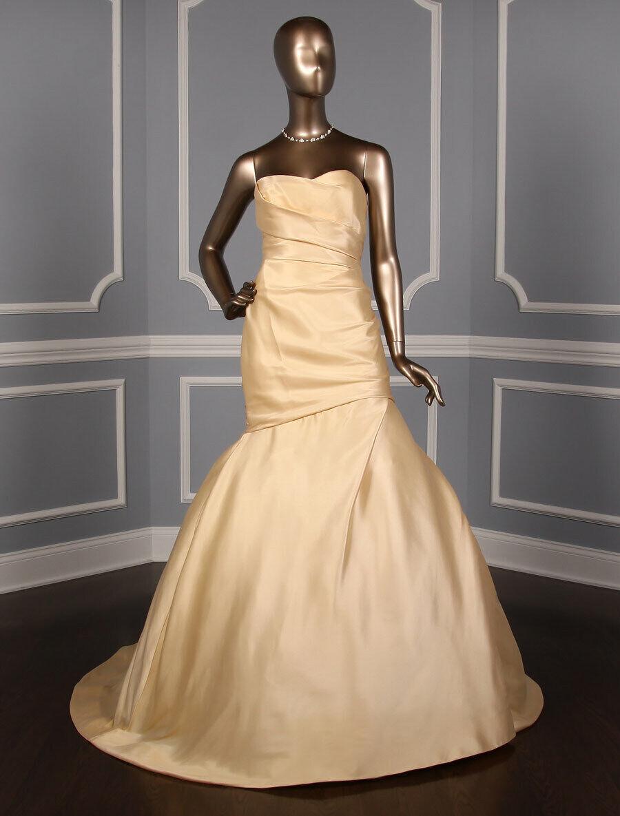 Monique Lhuillier Austen Strapless Sweetheart Trumpet Gold Wedding Dress 10 NEW