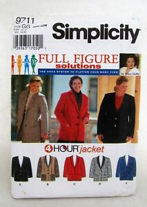 9711-Simplicity-Jacket-Mary-Duffy-Vtg-Sewing-Pattern-Women-039-s-Clothing-26-32W