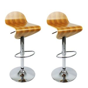 Details About 2 Zebrano Wooden Gas Lift Chrome Bar Stools Swivel Kitchen Breakfast Seat