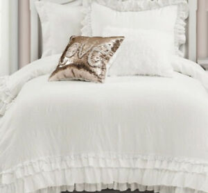 Simply-Shabby-Chic-FULL-QUEEN-Comforter-Set-White-amp-Blue-and-White-Ruffles-NEW