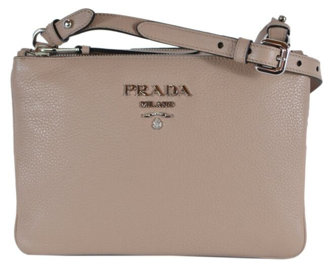 e81ab56b0094 New Prada 1BH046 Cammeo Vitello Leather Bandoliera Double Zip Crossbody Bag