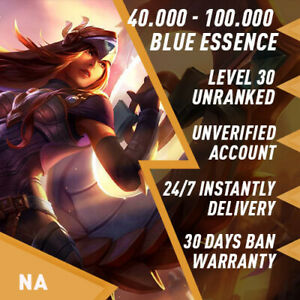 🌪 NA League of Legends LOL Account Smurf 40.000 - 100.000 BE Unranked Level 30