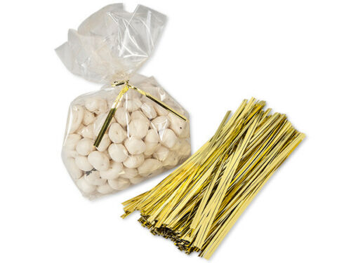 """50 Gold Metallic 6/"""" Cello Gift Bag Twist Ties Christmas Crafts Favors Wreaths"""