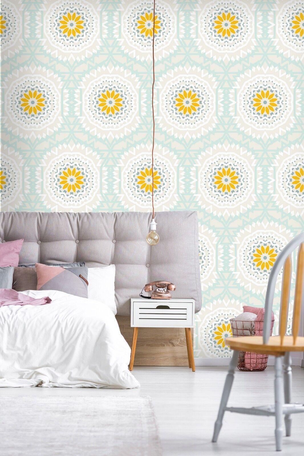 3D Golden Floral 8 Wall Paper Print Wall Decal Deco Indoor Wall Murals US Summer