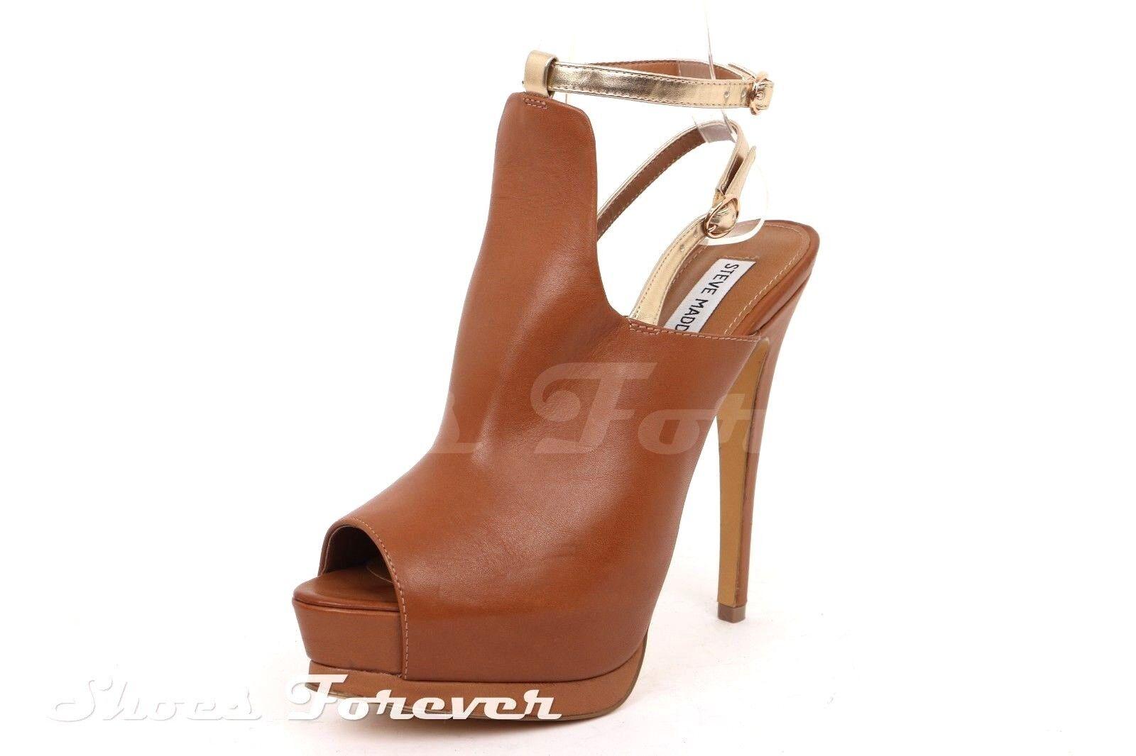 Damenschuhe STEVE MADDEN Braun / gold Leder ankle strap platforms sz. 9 M NEU