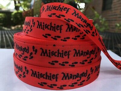"Red Grosgrain Ribbon 7//8/"" By the yard NEW Harry Potter Mischief Managed"