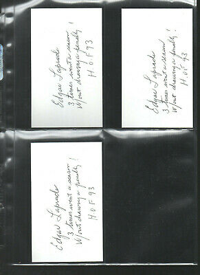 In 3 Alert Quality Edgar Laprade Added Many Stats Autograph/auto/hand-signed Index Card 3x5 B Superior