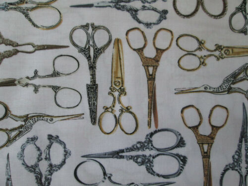 SCISSORS HAIR SEWING ITEMS SCISSOR VARIETY COTTON FABRIC FQ