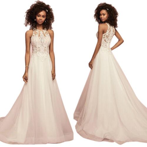 Damen Spitze Lang Abendkleid Brautkleid Party Hochzeit Vintage Maxi Ballkleid 40