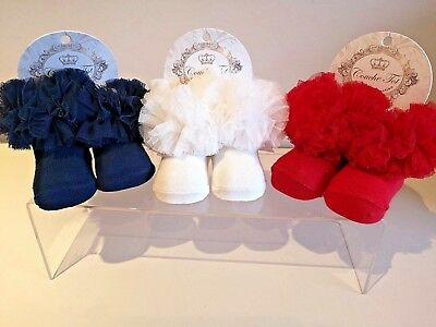 3 Girls Jolie Fille Cotton Rich Embroidered TOT Lace Frilly Wedding Socks