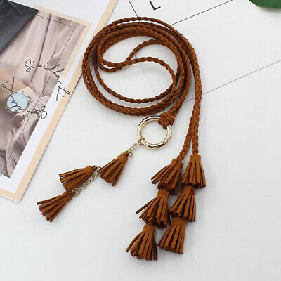 Women Super Skinny Braided Soft Belt Dress Knot Tassel Waistband Decoration