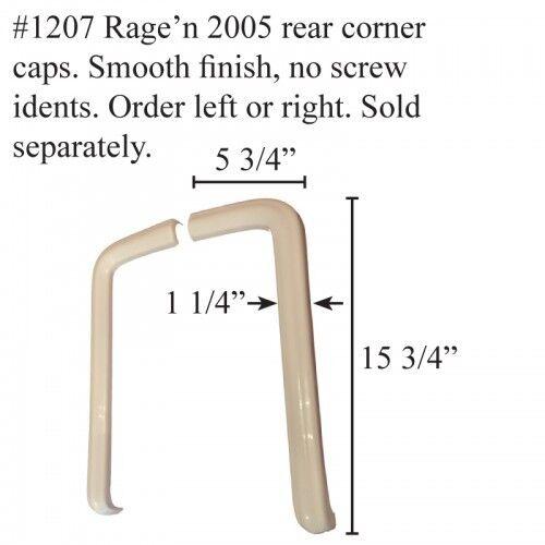 Rage/'n RV Rear Corner Caps FIBERGLASS  #1207 White BOTH SIDES