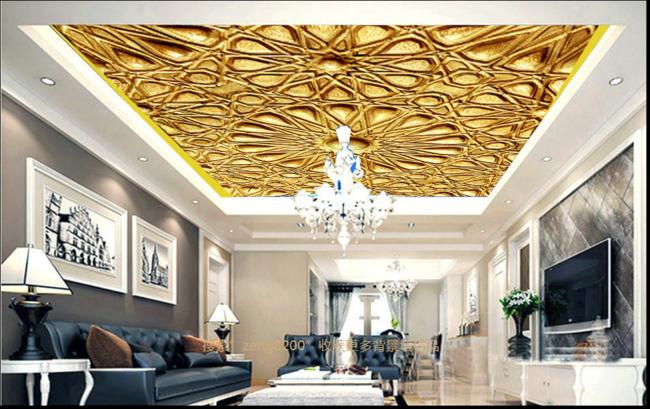 3D Golden Petal 4 Ceiling WallPaper Murals Wall Print Decal Deco AJ WALLPAPER UK