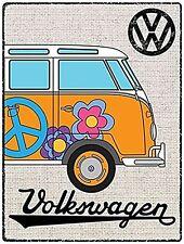 Volkswagen Camper Hessian Orange Tin Metal Wall Sign