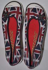 Rocket Dog Union Jack Flag UK of Great Britain Woman Flats Sz 6.5 USED