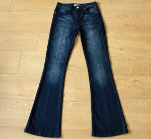Karen-Millen-Ladies-Flared-Dark-Blue-Jeans-Size-UK-8-W26-034-L32-034