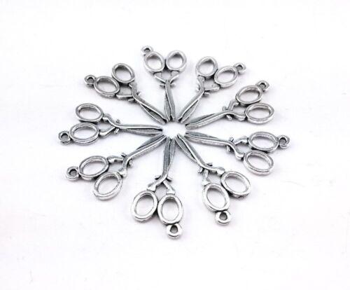 50 Scissor Charms Antiqued Silver Sewing Pendants Seamtress BULK Wholesale