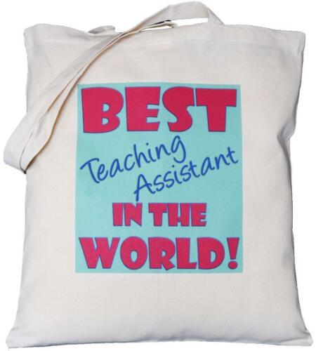 School Gift Best Teaching Assistant in the World Natural Cotton Shoulder Bag