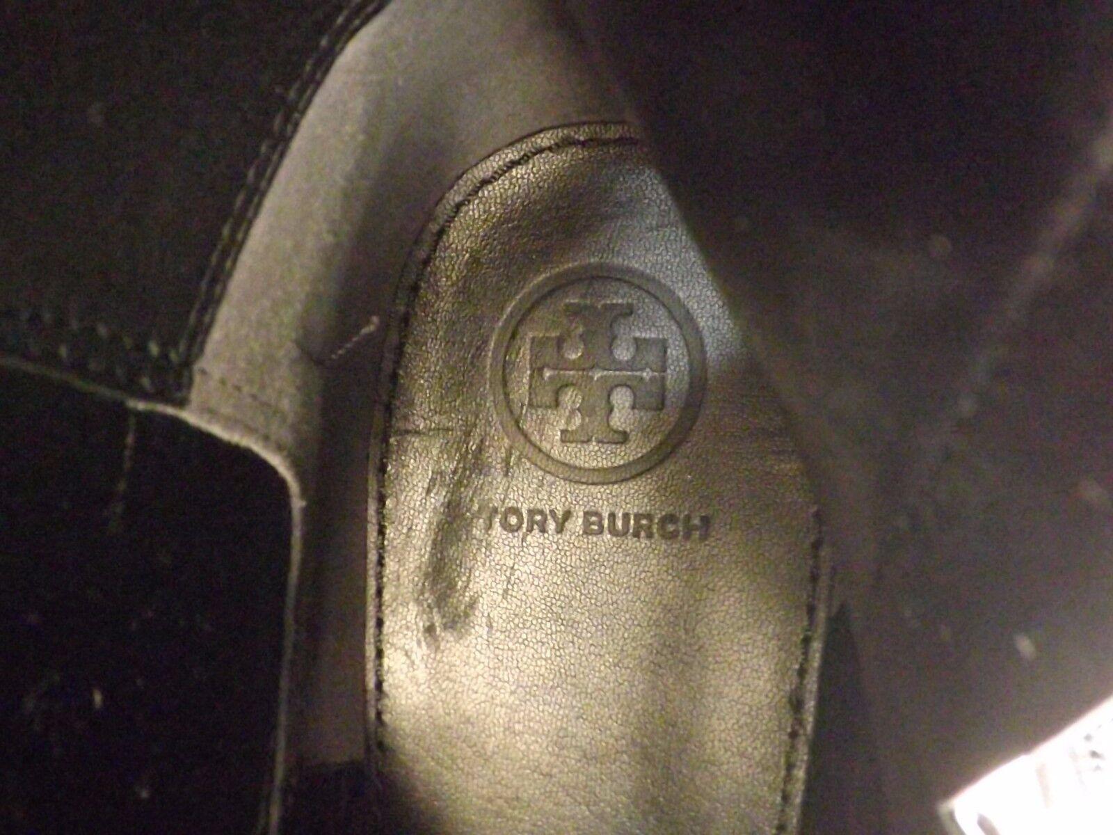 NIB TORY BURCH WYATT BLACK LEATHER BLACK REVA TALL ELASTIC ELASTIC ELASTIC RIDING ZIP BOOTS 9.5 b245e6