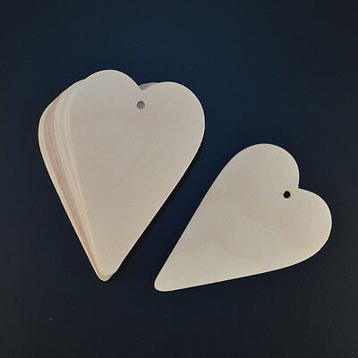 WOODEN SHAKER STYLE HEARTS EMBELLISHMENTS CRAFT SHAPES X 10
