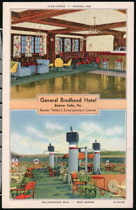 Image Is Loading Beaver Falls Pa General Brodhead Hotel Lounge Amp
