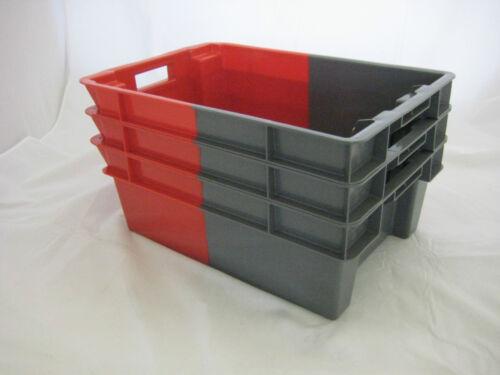 5 nouveaux rouge gris déstockage Stockage Conteneur Boîte Caisse 50L
