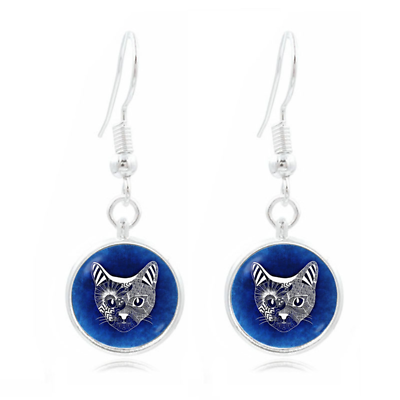 1 pair of 16mm Handmade Cat Glass Cabochon French Earwire Earrings