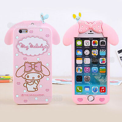 Cute Pink Melody Rabbit Silicone Case Cover for iPhone X 5 6S 7 8 Plus & Samsung
