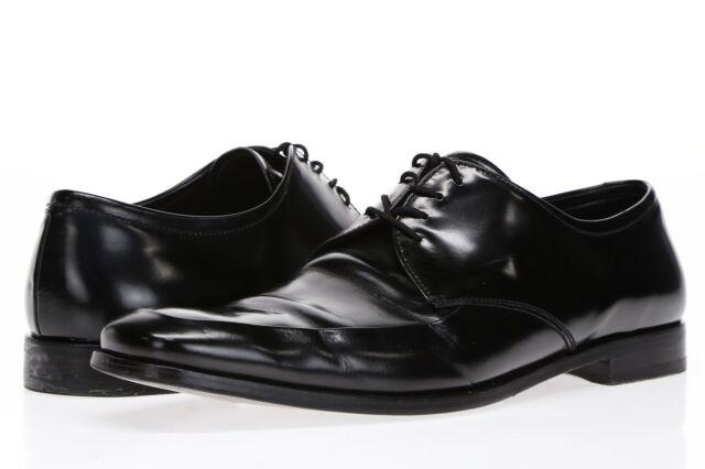 PRADA Mens Black Leather Lace Up