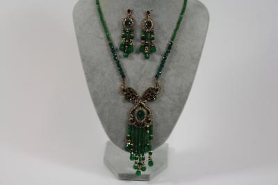 Großes Prunk Collier Halskette Schmuckmetall Steinbesatz Markasiten Barock Stil