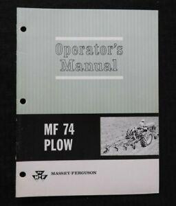 1967-Massey-Ferguson-Mf-74-4-ROW-Plow-Operarios-Manual-Muy-Buenas-Forma