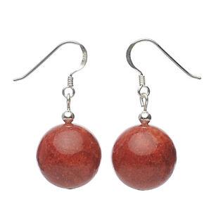 Ohrringe-Ohrhaenger-aus-echter-Koralle-Schaumkoralle-amp-925-Silber-rot-Damen
