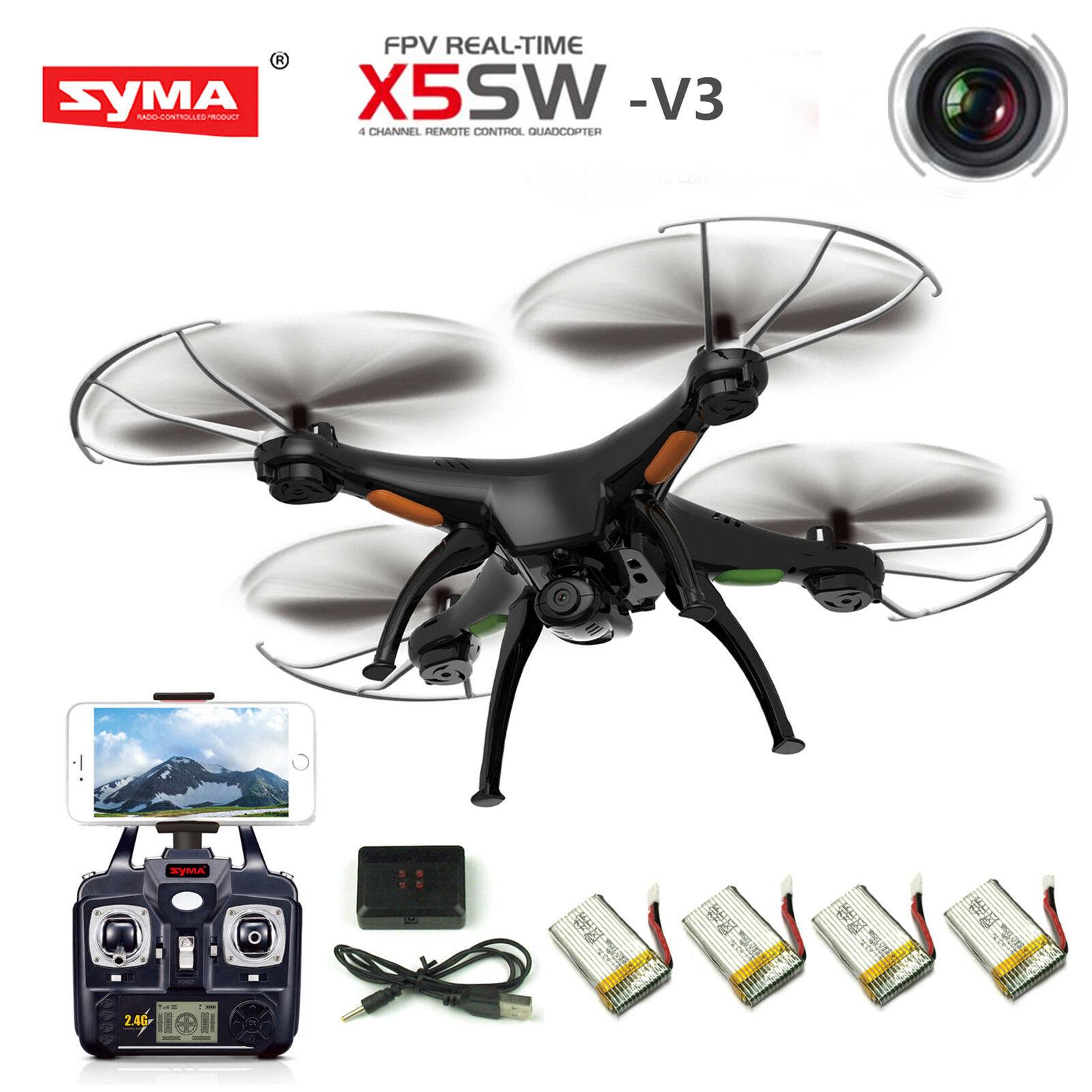 Syma x5sw-v3 wifi 2.4ghz 4ch rc quadcopter drohne mit hd - kamera rtf + 5 batterien