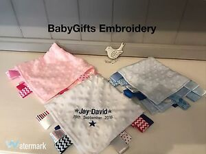 Girl Gift Personalised Embroidered Soft Baby Taggy Blanket Comforter Baby Boy