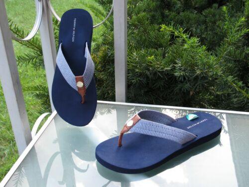 Tommy Hilfiger TWCrespo Navy TH Logo Medallion Canvas Flip Flop Sandals 8 NEW