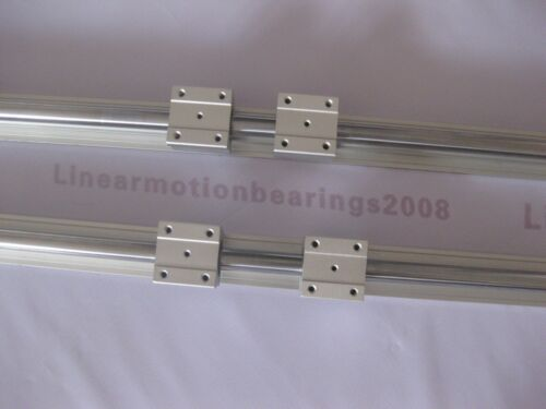 2  SBR20-48 inches 20 MM FULLY SUPPORTED LINEAR RAIL SHAFT ROD with 4 SBR20UU