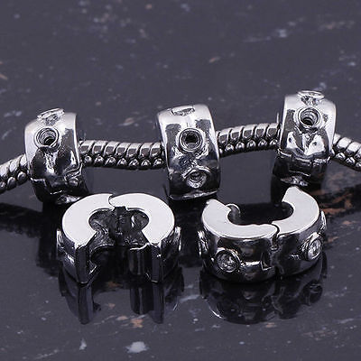 Top Quality 5Pcs 3mm Hole Silver Charm Stopper Clip/Lock Beads To Snake Chain