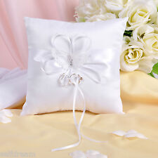 GB05c  Brand New White Butterfly Wedding Ceremony Satin Ring Bearer Pillow