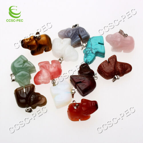 Hot gros lots 12pcs Charmant Mixed Gemstone carved Elephant Pendentif Bead