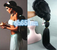 Anime Aladdin Jasmine Princess Long Black Wigs Classic Party Cosplay Wig