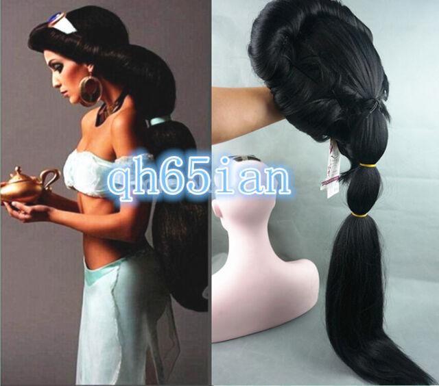 NEW Anime Aladdin Jasmine princess Long Black Wigs Classic Party Cosplay Wig
