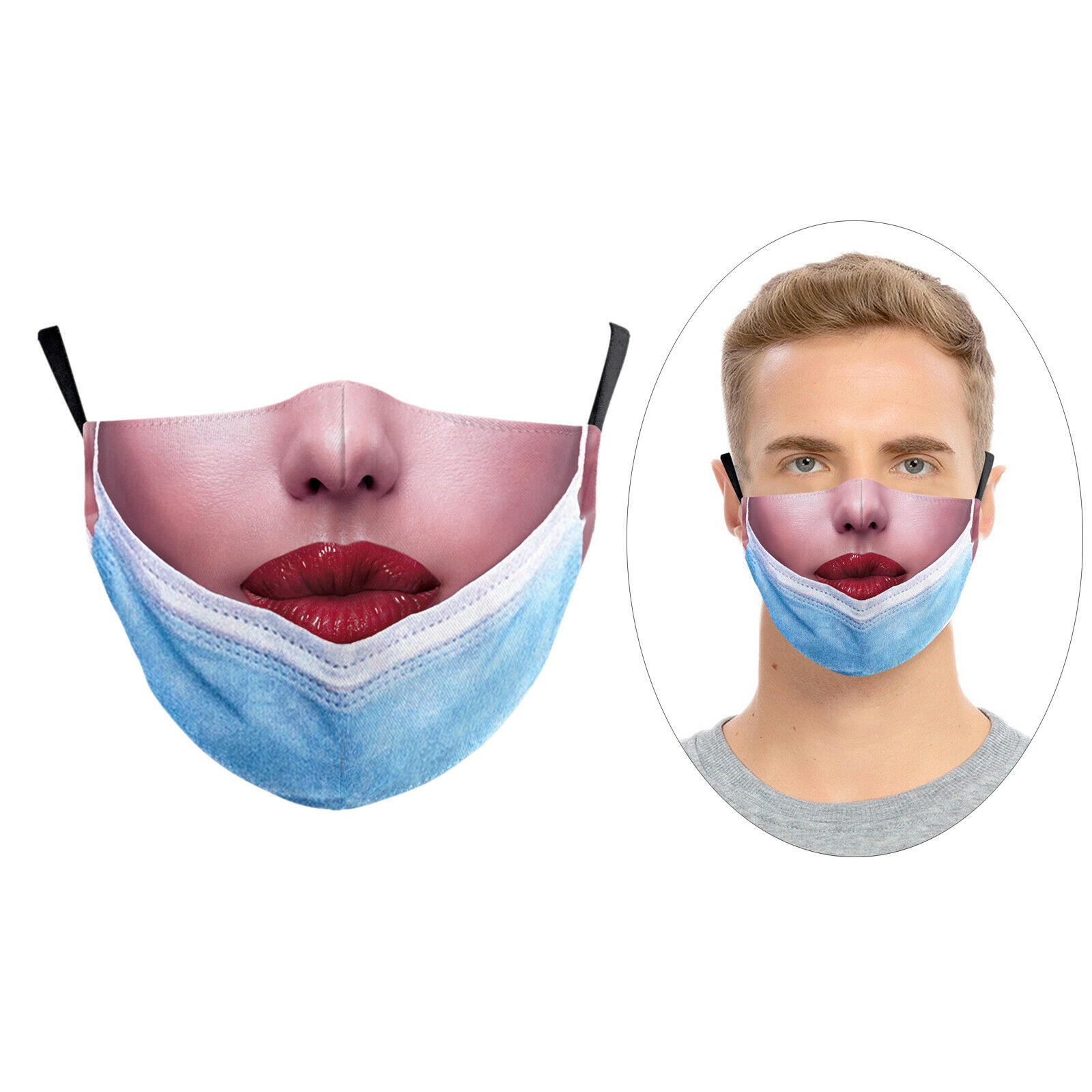 Funny Face Mask Maskless Pulled Down Prank Mouth Covering for Men Women D