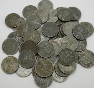 1943-P LINCOLN STEEL WHEAT CENT PENNY ROLL 50 COINS