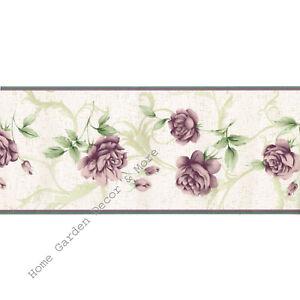 Details About Bordeaux Purple Lavender Plum Roses Flower Floral Cream Scroll Wallpaper Border