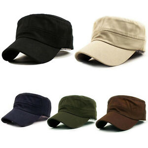 8c1a1b3603a Image is loading Unisex-Classic-Plain-Vintage-Army-Military-Cadet-Style-