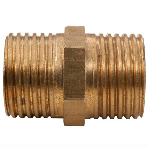 Brass Pipe Fitting G1//2″  x G1//2″ Male Hex Nipple Air Fuel Water Coupler.