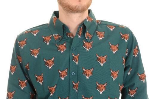 Mens Run /& Fly Vintage Indie Retro Fox Head Long Sleeve Shirt
