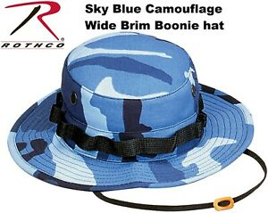 162573f8157e0 Image is loading Sky-Blue-Camouflage-Military-Tactical-Wide-Brim-Bucket-