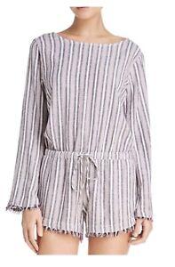 7acaa75a2e16 NEW Cloth   Stone Bella Dahl Sz XS Button Back Fringe Striped Linen ...